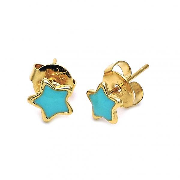 Image of Gold Layered Stud Earring, Star Design, Gold Tone