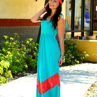 SUMMER FEST LACE CHEVRON MAXI DRESS IN TEAL