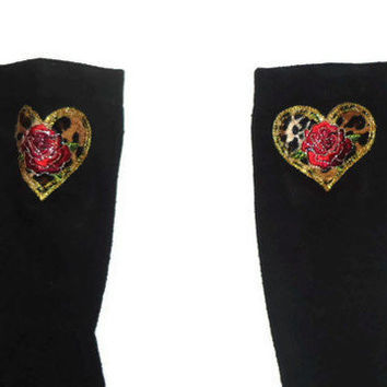 One Size Heart Rose Cheetah Print Black Knee High Womens Socks