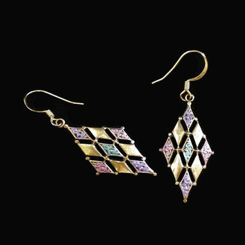 Harlequin Dangle Drop Earrings, In Gold Tone, With Purple, Pink, And Turquoise Enamel