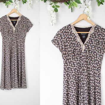 Vintage Brown Hippie Simple Dress