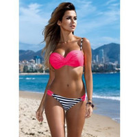 Multicolor Stripe Ruffle Strap Bikini Set Swimsuit Swimwear