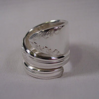 A Spoon Rings Plus Beautiful Double Wrapped Spoon Ring Size 7 1/2 Vintage Spoon and Fork Rings Hippie Rings t49