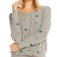 Red & Blue Star Print Sweatshirt