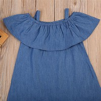 Fashion Baby Girl Kids Summer Clothes Flouncing Denim Beach Jeans Dress 1-4