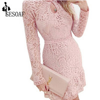 2016 New Arrival Autumn Women Dress Fashion Casual Lace Long Sleeve  Dresses For Evening Party
