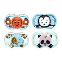 RazBaby Keep-It-Kleen Pacifiers - Pack of 4 (Finley Clown Fish, Ethan Penguin, Percy Puppy & Panky Panda)