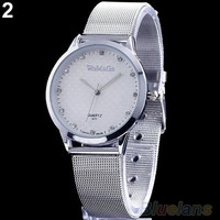 Luxury Silver Couple Lover Design Stainless Steel Quartz Wrist Watch (Color: Silver) = 1930170116