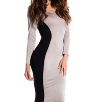 Black and Taupe Long Sleeve Midi Silhouette Dress