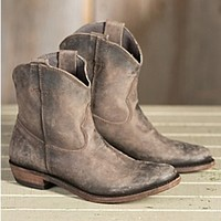 Women's Liberty Black American Short Distressed Leather Cowboy Boots