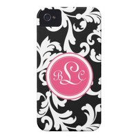 """""""L"""" Monogrammed Damask in Pink and Black ID iPhone 4 Cover from Zazzle.com"""
