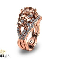 Rose Gold  Bridal Set 14K Rose Gold Morganite Engagement Set Unique Bridal Set Morganite Art Nouveau Engagement Ring-By Camellia Jewelry