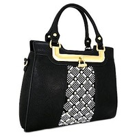 Rhinestone Bling Fashion Handbag Purse w/ Shoulder Strap Black