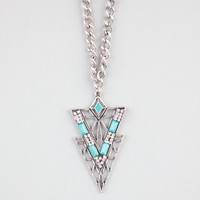 Full Tilt Cutout Rhinestone Triangle Necklace Silver One Size For Women 24356114001