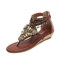 Beaded Bohemia Comfort Beach Brown Flat Sandals