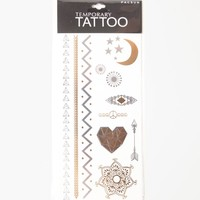 With Love From CA Feather Hamsa Flash Tattoos - Womens Scarves - Gold And Silver - One