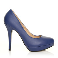 EVE Navy PU Leather Stiletto High Heel Platform Court Shoes