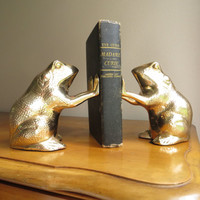 Vintage Brass Frog Bookends, Gold Frog Book Ends, Pair of Frogs, Large Bookends