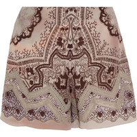 Etro - Lace-trimmed printed silk-crepe shorts
