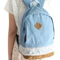 Girl's Korean Style Leisure Lace Washed Denim Jeans Backpack Book Bag Tote Handbag Travel Hiking Campus Schoolbag for Teens Juniors College Student Blue