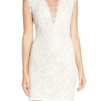 Aidan by Aidan Mattox Open Back Lace Sheath Dress | Nordstrom