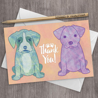 Printable Puppies Thank You Card Watercolor Double Party Thank You Notes Labrador Retriever Boxer Illustrated Cute Pet Puppy Greeting Cards