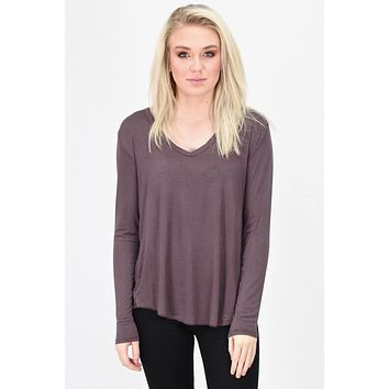 Loose Fit V-neck L/S Basic {Plum Brown} - Size MEDIUM