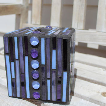 Purple and periwinkle art glass mosaic tissue box cover with glass nugget band, mosaic tissue box, purple mosaic, tissue box cover, mosaic