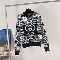 GUCCI Women Jacquard wool blended knitted sweater