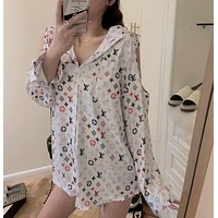 LV Louis Vuitton letter print loose and thin chiffon long-sleeved split sunscreen all-match strapless jacket shirt