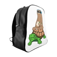 Sloth Riding Turtle School Backpack