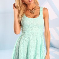 Mint Sleeveless Floral Lace Skater Dress with Cutout Back