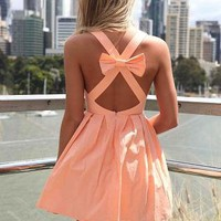 Peach Sleeveless Mini Dress with Open Cross Bow Back