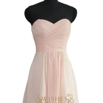 2016 Strapless Sweetheart Pink Bridesmaid Dress AM470