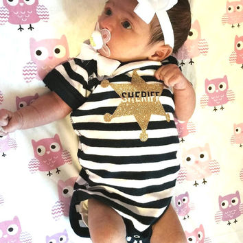 Sheriff Onesuit - Glitter Onesuit - Onesuit - Ruffles with Love - Girls Onesuit