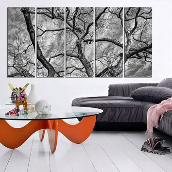 Large Wall Art Autumn and Dead Wood Canvas Print Black White Tree Canvas Print Dead wood Canvas