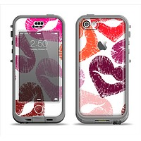 The Vector Puckered Color Lip Prints Apple iPhone 5c LifeProof Nuud Case Skin Set