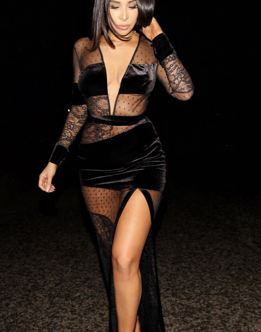 Image of Vanessa black lace and mesh open maxi dress