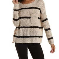 Ivory Combo Slouchy Striped Pullover Sweater by Charlotte Russe