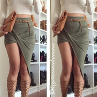 Twisted Unbalanced Skirt - Olive
