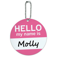 Molly Hello My Name Is Round ID Card Luggage Tag