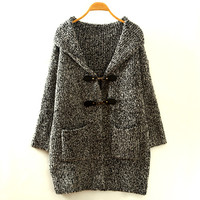 Grey Buckle Button Loose Hooded Cardigan