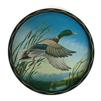 Vintage Tole Tray 60's Tole Goose James Artig Art Tray Wall Decor Round Metal Tray Signed Tray Serving Tray Watch Hill Rhode Island