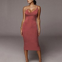 fhotwinter19 Explosive fashion solid color sexy sling all-match dress