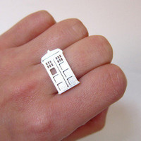 Doctor Who TARDIS - Handmade Silver Ring