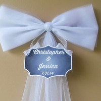 Wedding Pew  Bow, Personalized Wedding, Church Pew Bow, Wedding Pew Bow,Bridal Shower Bow, Anniversary Bow,Church Decoration- Various Colors