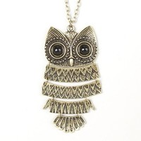 Extra Long Gold Owl Articulated Pendant Necklace – Claire's