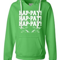 Small Lime Womens Hap-pay Hap-pay Hap-pay Happy Happy Happy Duck Dynasty Duck Hunting Deluxe Soft Fashion Hooded Sweatshirt Hoodie