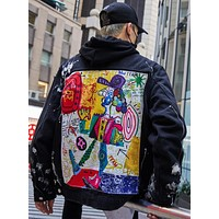 Denim Jacket Men Distressed  Jean Jacket with Graffiti hand painted