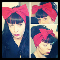 Bright Red Headwrap Bandana Hair Big Bow Tie 1940s 1950s Vintage Style